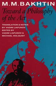 Cover of: Toward a philosophy of the act