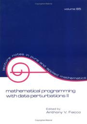 Cover of: Mathematical Programming with Data Perturbations II | Fiacco