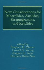 Cover of: New considerations for macrolides, azalides, streptogramins, and ketolides | edited by Stephen H. Zinner ... [et al.].