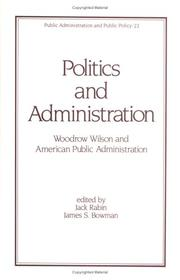 Cover of: Politics and administration |