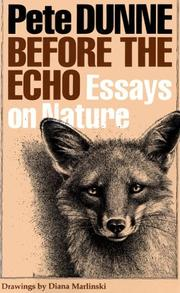 Cover of: Before the echo: essays on nature