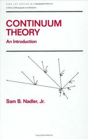 Cover of: Continuum theory | Sam B. Nadler