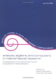 Cover of: Analysis, Algebra and Computers in Mathematical Research (Lecture Notes in Pure and Applied Mathematics) |