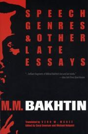 Cover of: Speech genres and other late essays