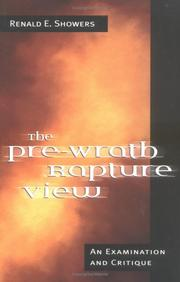 Cover of: The Pre-Wrath Rapture View