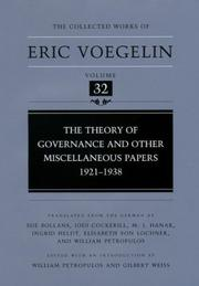 Cover of: The Theory of Governance and Other Miscellaneous Papers