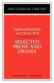 Cover of: Selected prose and drama