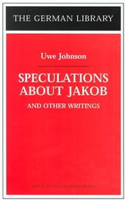 Cover of: Speculations about Jakob and other writings