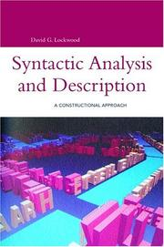 Cover of: Syntactic Analysis And Description