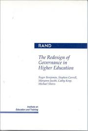 Cover of: The Redesign of governance in higher education |
