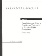 Cover of: Cancellations and delays in completion of Department of Defense A-76 cost comparisons