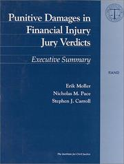 Cover of: Punitive damages in financial injury jury verdicts