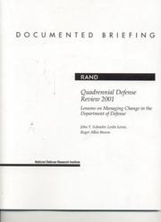 Cover of: Quadrennial defense review 2001: lessons on managing change in the Department of Defense