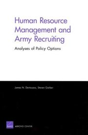Cover of: Human Resource Management and Army Recruiting | James N. Dertouzos
