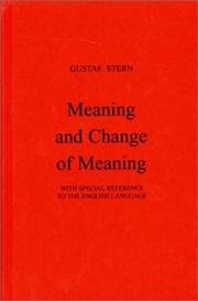 Cover of: Meaning and change of meaning: with special reference to the English language