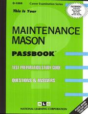 Cover of: Maintenance Mason (C-1355) | Jack Rudman