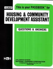 Cover of: Housing and Community Development Assistant (C-2537) | Jack Rudman