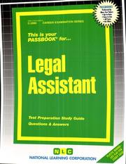 Cover of: Legal Assistant (C-2980) | Jack Rudman
