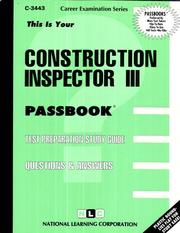Cover of: Construction Inspector III | National Learning Corporation