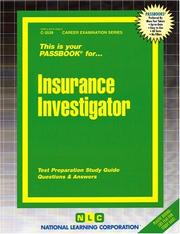 Cover of: Insurance Investigator (Career Exam Series, C-3539) | Jack Rudman