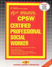 Cover of: Certified Professional Social Worker (Cpsw (Admission Test Series) |