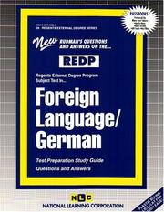 Cover of: REDP Foreign Language - German (Regents External Degree Program) (Regents External Degree) | Jack Rudman