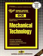 Cover of: Mechanical Technology (Occupational Competency Examination Ser) | Jack Rudman