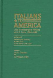 Cover of: Italians to America, Volume 9  June 1895-June 1896 | Glazier Ira A.TH