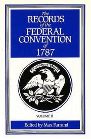 Cover of: The Records of the Federal Convention of 1787