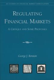 Cover of: Regulating Financial Markets