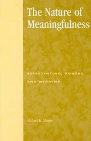Cover of: The nature of meaningfulness