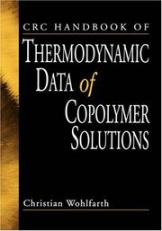 Cover of: CRC Handbook of Thermodynamic Data of Copolymer Solutions | Christian Wohlfarth