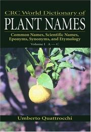 Cover of: CRC World Dictionary of Plant Names | Umberto Quattrocchi