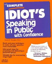 Cover of: The complete idiot's guide to speaking in public with confidence
