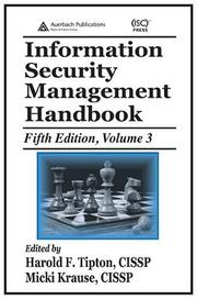 Cover of: Information Security Management Handbook, Fifth Edition, Volume 3 (Information Security Management Handbook) |