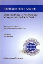 Cover of: Rethinking policy analysis and management | Sam Agere