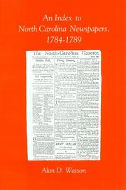 Cover of: An index to North Carolina newspapers, 1784-1789