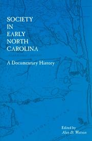 Cover of: Society in Early North Carolina