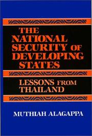 Cover of: national security of developing states | Muthiah Alagappa
