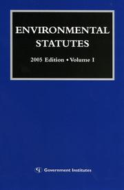 Cover of: Environmental Statutes | Government Institutes Research Group