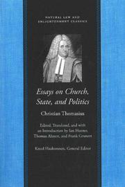 Cover of: Essays on Church, State, and Politics (Natural Law and Enlightenment Classics)