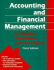 Cover of: Accounting and financial management for builders, remodelers, and developers | Emma S. Shinn
