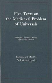 Cover of: Five Texts on the Mediaeval Problem of Universals | Paul Vincent Spade