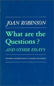 Cover of: What are the questions?