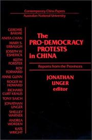 Cover of: The Pro-Democracy Protests in China |