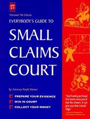 Cover of: Everybody's guide to small claims court | Ralph E. Warner
