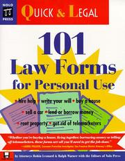 Cover of: 101 law forms for personal use