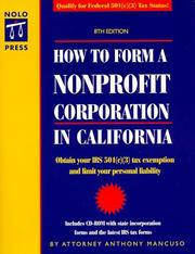 Cover of: How to form a nonprofit corporation in California
