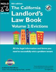 Cover of: The California Landlord's Law Book Volume 2: Evictions (8th Ed)