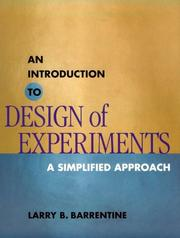 Cover of: An introduction to design of experiments